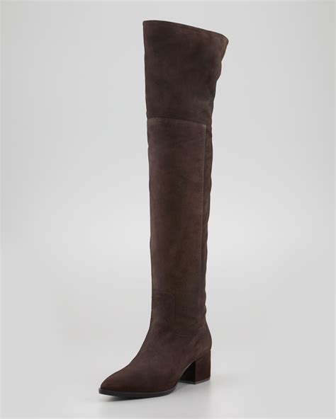 miu miu suede low heel pointy the knee boot ijshoes