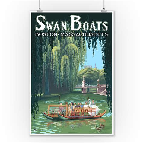 boston swan boats art boston ma swan boats lp artwork 9x12 art print wall
