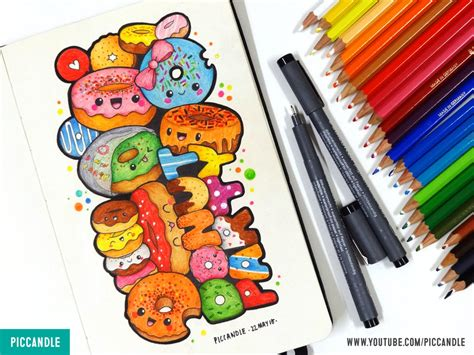 doodlebug donuts donut moleskine doodle by piccandle on