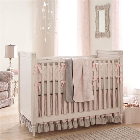 nursery comforter paris script crib bedding pink and gray baby girl crib