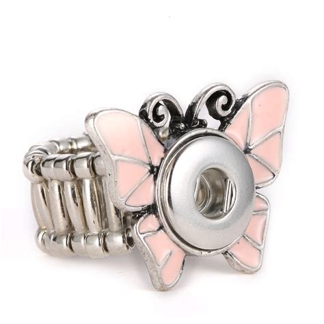 Snap Ring H 12 Mm Hitam mrs win snap jewelry butterfly snap ring jewelry fit 12mm snap adjustable stainless steel 12mm