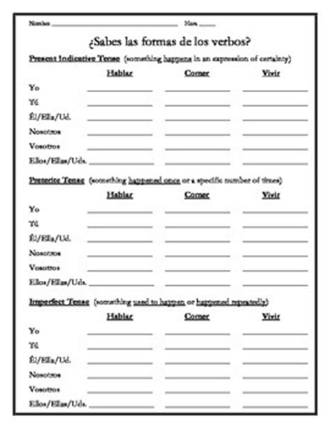 spanish  verb tenses review worksheets  save  spanish tpt