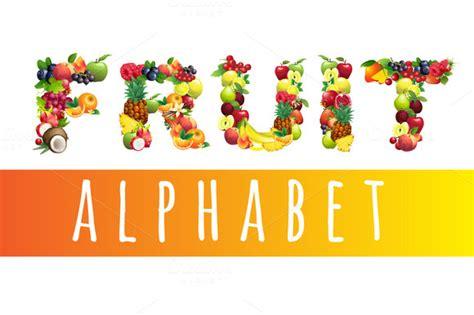 fruit 5 letters vector fruit alphabet sans serif fonts on creative market