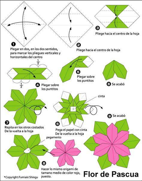 Flor De Origami - esquema flor de pascua origami poinsettia papel