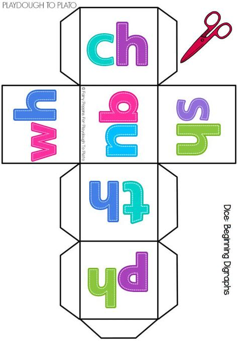 printable sound dice free digraph cards and dice playdough to plato