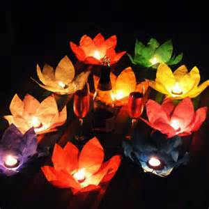 How To Make A Floating Paper Lantern - 10pcs summer lotus flower water light paper