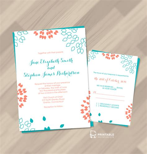 printable invitation kits summer petals wedding invitation templates printable