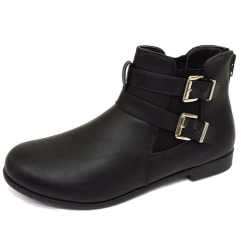 womens flat biker boots womens flat black zip up chelsea biker smart work comfy
