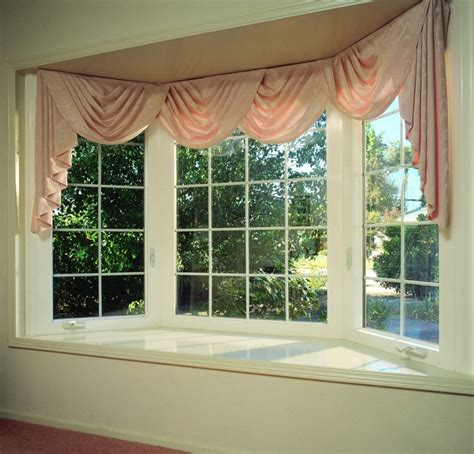 Beautiful Window Curtains Decorating Simple Beautiful Bay Window With Pink Window Curtain Bay Window Decorating Ideas For Your