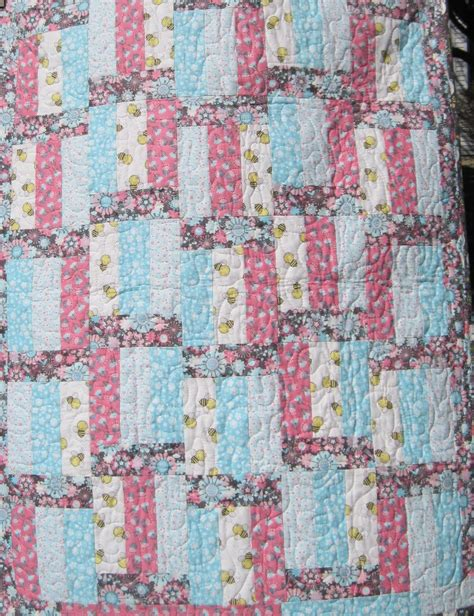Handmade Baby Quilts For Sale - baby quilt handmade quilt for sale pink gray by