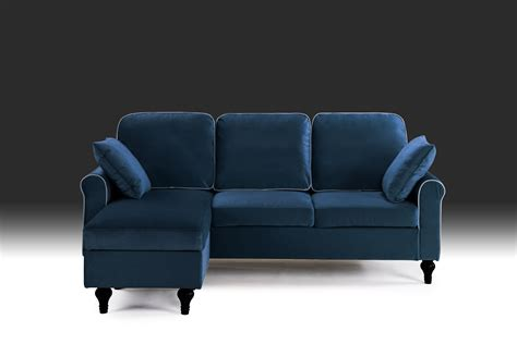 Small Lounge Sofa by Blue Small Space Velvet Upholstered Sectional Sofa With