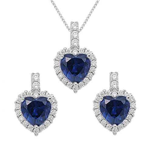 sterling silver simulated blue sapphire necklace and