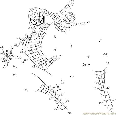 spiderman jumping dot to dot printable worksheet connect