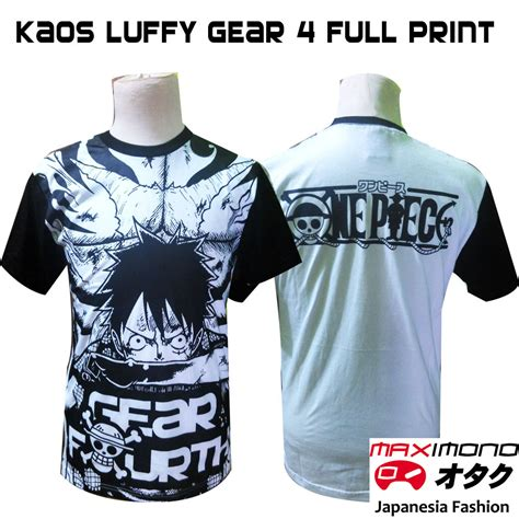 Baju Pakaian Kaos Anime One Wanted Luffy D kaos premium one monkey d luffy gear 4 maximono jaket anime