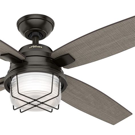 52 Quot Hunter Outdoor Ceiling Fan Noble Bronze Light Kit Outdoor Ceiling Fans With Lights And Remote