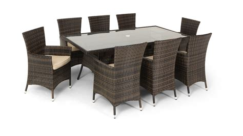 8 Seater Patio Table And Chairs Rattan Garden Dining Set Large 8 Seater Dining Table 8 Arm Chairs With Cushions Uk Gardens