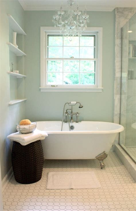 Bathroom Shower Paint Cast Iron Tub Traditional Bathroom Sherwin Williams Sea Salt Benign Objects