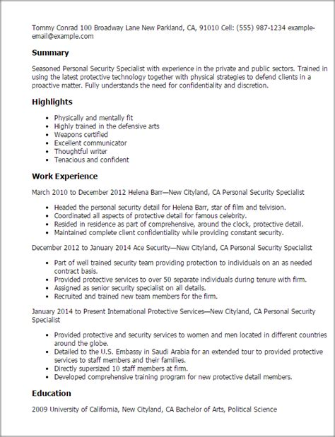 Industrial Security Specialist Sle Resume by Professional Personnel Security Specialist Templates To Showcase Your Talent Myperfectresume