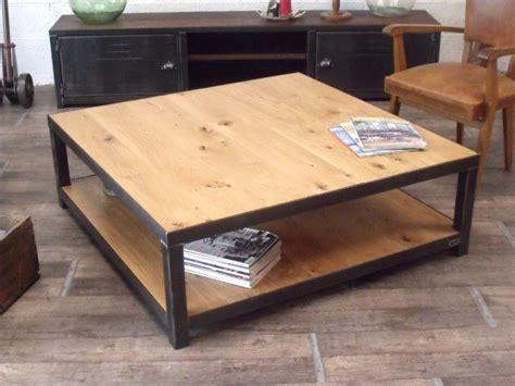 plan de travail bois massif 1270 table basse en bois et metal industrielle style