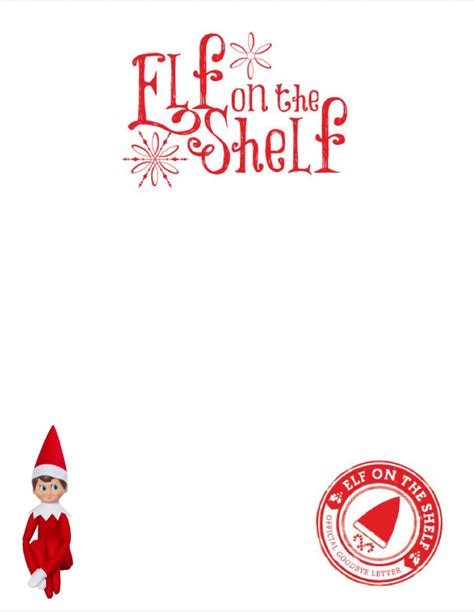 elf on the shelf blank printable letter blank elf letter with elf picture elf on the shelf
