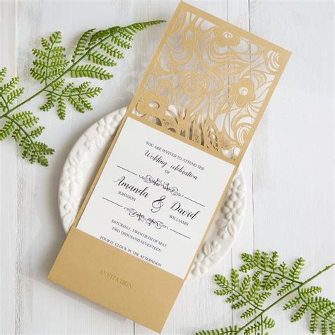Gold Wedding Invitation Cards by Gold Laser Cut Pocket Wedding Invitations With Matching