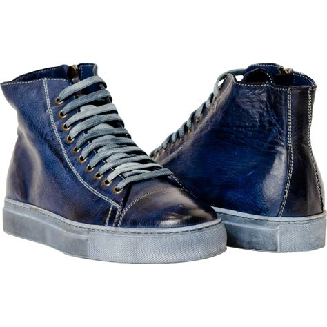 Top Copy Sneaker dip dyed navy blue high top sneaker paolo shoes