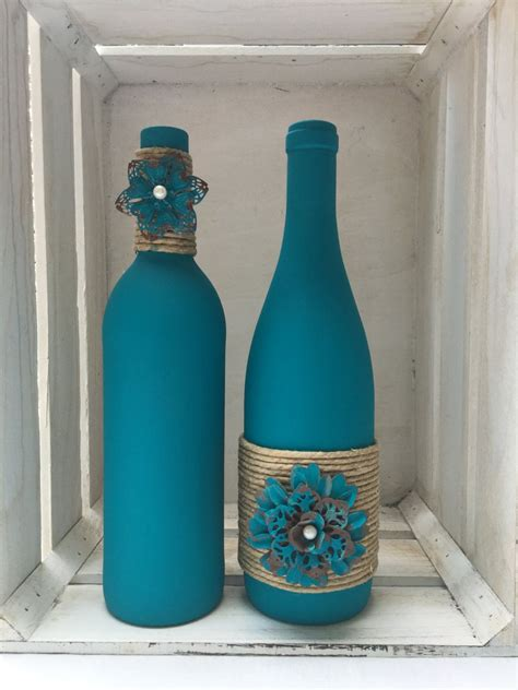 decorate bottles teal chalk painted wine bottles with twine and metal