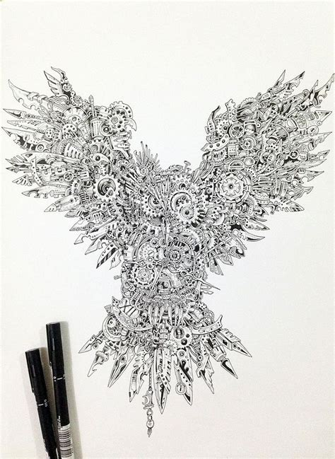 doodle studio malaysia strikingly detailed steunk owl illustration by doodle