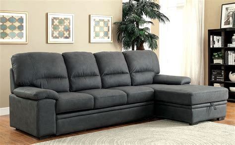furniture of america sofa alcester graphite sectional sleeper from furniture of
