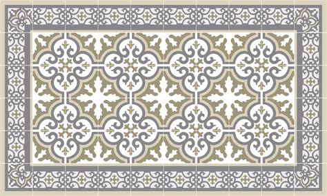 Tapis Carreaux De Ciment Vinyl 5869 by Tapis Vinyle Carreaux De Ciment Beige