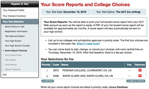 what your act score report looks like to colleges