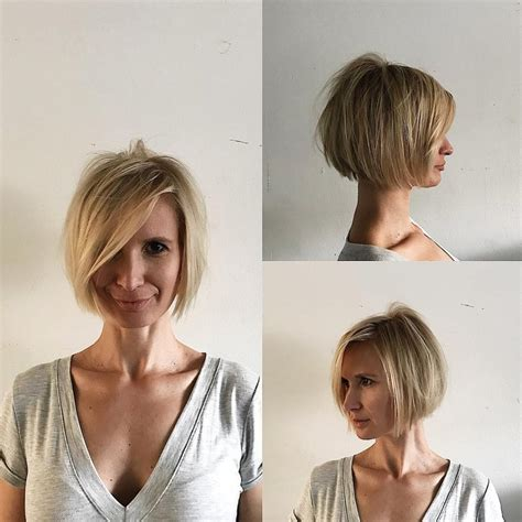 Women's Blonde Shaped Bob with Messy Texture and Long Side