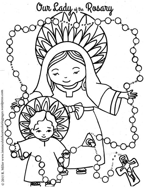 Our Lady Of The Rosary Coloring Page Free Printable And Rosary Coloring Pages