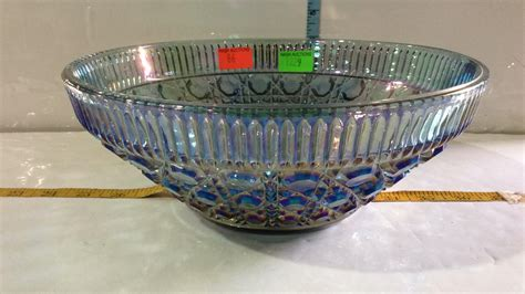 blue carnival glass seven bowl