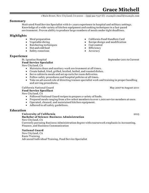 Food Service Specialist Cover Letter by Food Service Specialist Resume Sle My Resume