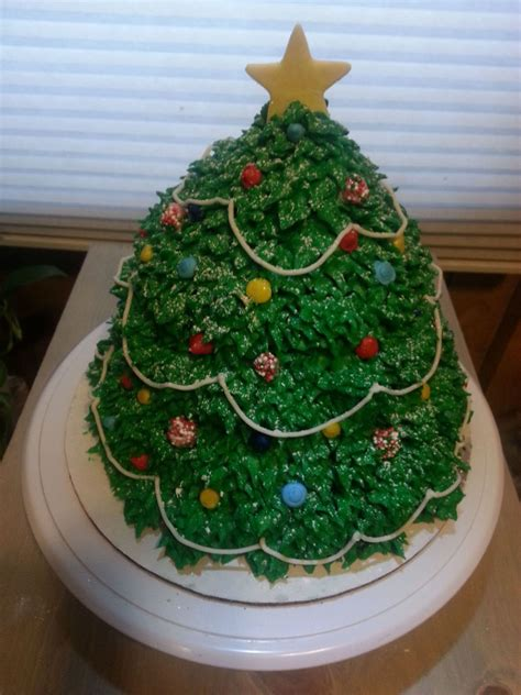 my 3d christmas tree cake about 5 layers of chocolate cake