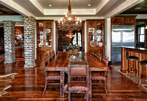 rustic dining room custom home rustic dining room charleston by shoreline construction and development