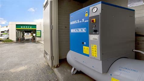 major service station with car wash compressor installation
