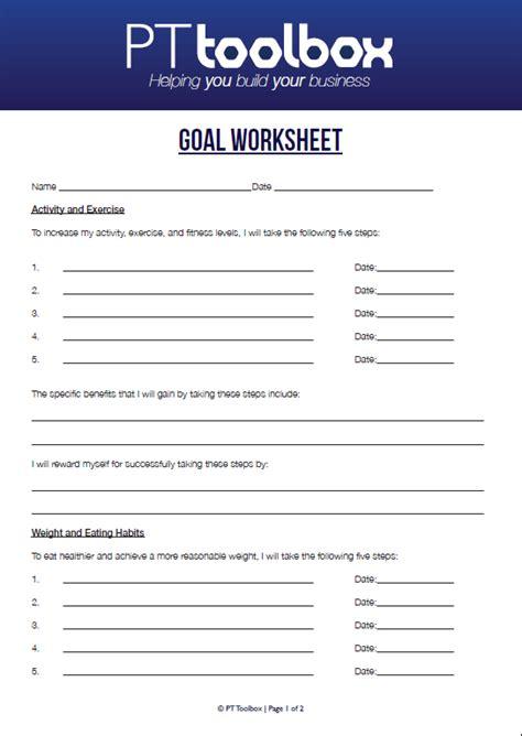 personal consultation template fitness goal setting worksheet davezan