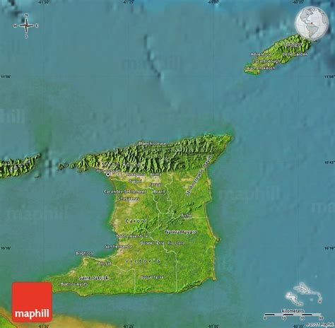 Search And Tobago Satellite Map Of And Tobago