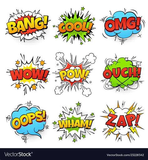comic words cartoon speech bubble  zap pow vector