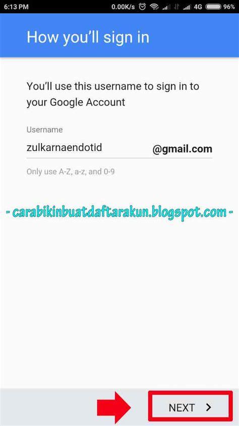 contoh   buat akun google  android xiaomi lengkap