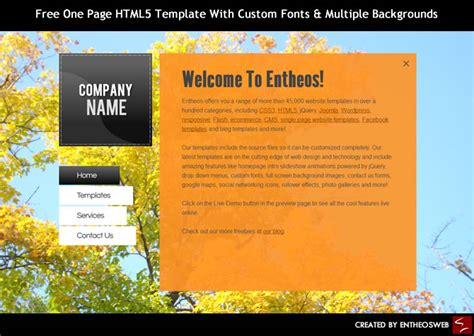 Free Html5 And Css3 Website Templates Entheos Custom Html Website Templates