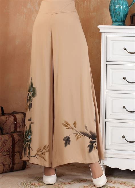 trend watch patterned pants camel women loose wide leg trousers tradition chinese