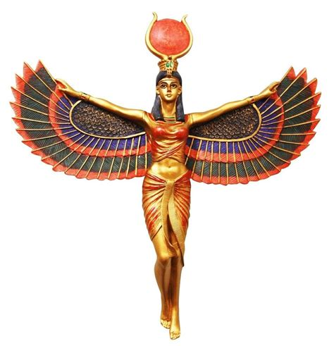 Egyptian Home Decor by Isis Open Wings Ancient Egyptian God Wall Plaque Statue