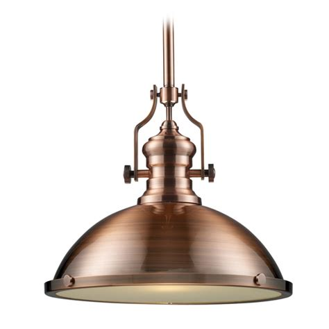 Pendant Light In Antique Copper Finish 17 Inches Wide Copper Lighting Pendants