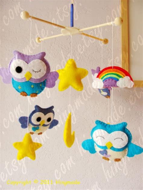 Owl Baby Mobiles Crib Baby Mobile Owl Mobile Nursery Mobile Decorative Nursery Mobile Lavender Purple Blue
