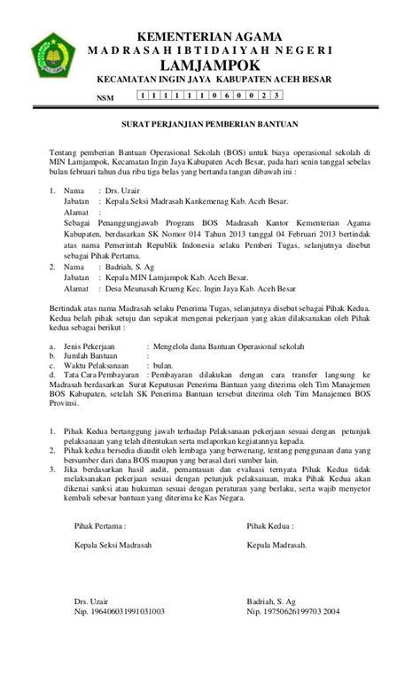 Surat Pengantar Sponsorship by Surat Perjanjian Pemberian Bantuan Bos