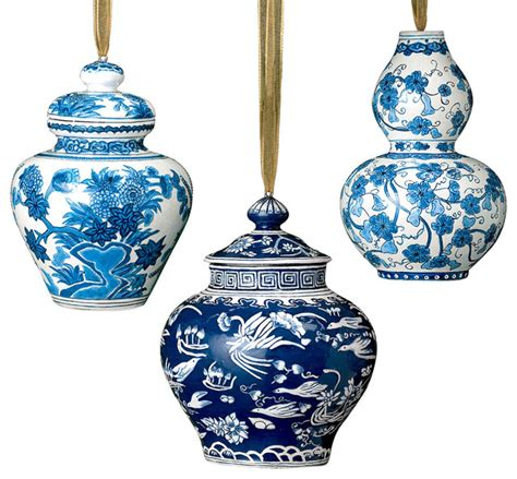 white blue ornaments blue and white ornament set asian