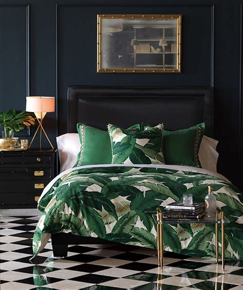 white comforter with green leaves eastern accents debuts banana leaf bedding architectural